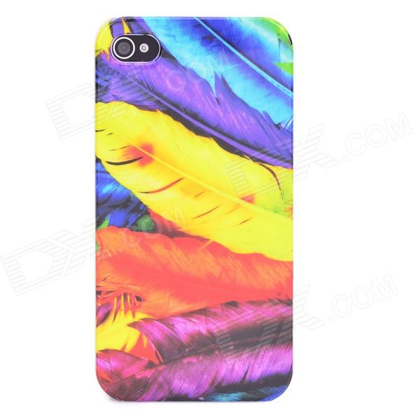 Colorful Feather Protective Plastic Back Case for  Iphone 4 / 4S - Yellow + Red + Purple colorful feather pattern protective plastic case for iphone 5