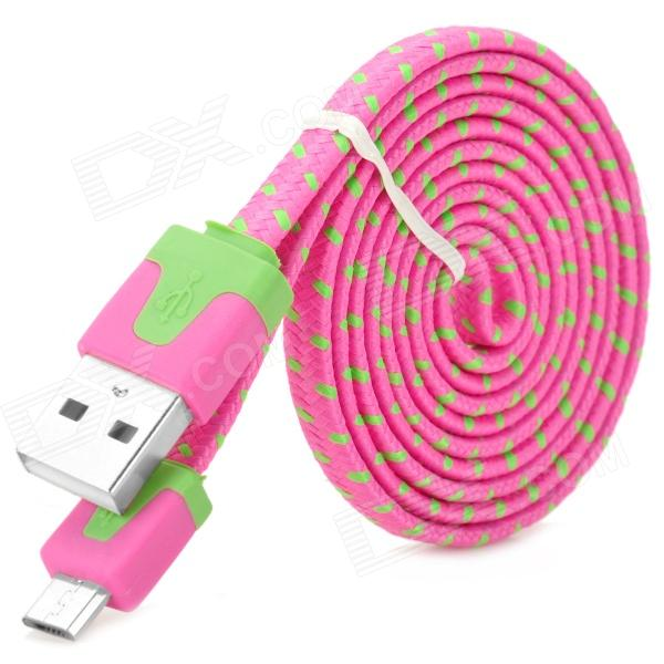 USB to Micro USB Data / Charging Plastic Cable for Samsung / HTC - Deep Pink + Green (100cm)