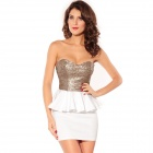 LC2669-1 Graceful Gleam Sequins Strapless Sleeveless Dress for Women - White + Light Golden (Size-M)