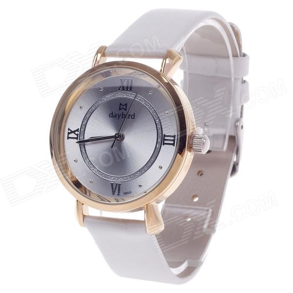 Daybird 3803 Fashionable Women's Quartz Analog Wrist Watch - White + Golden (1 x LR626) daybird 3802 pu leather band quartz analog women s wrist watch black golden white 1 x lr626