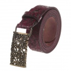 T.acttion 80704-4 Fashion Cow Split Leather Printing Pattern Women's Waist Belt w/ Zinc Alloy Buckle