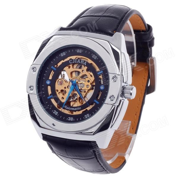 CJIABA GK8017 Double-Sided Skeleton Automatic Mechanical Men's Wrist Watch - Black + Golden + Blue