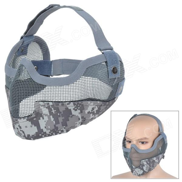SW2058 Outdoor Sports Adjustable Iron Wire Mesh + Nylon Face / Ear Mask - Camouflage