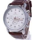 ORKINA P0031 Stylish Men's Quartz Wrist Watch w/ Six Stitch Stopwatch - Brown + Silver (1 x LR626)