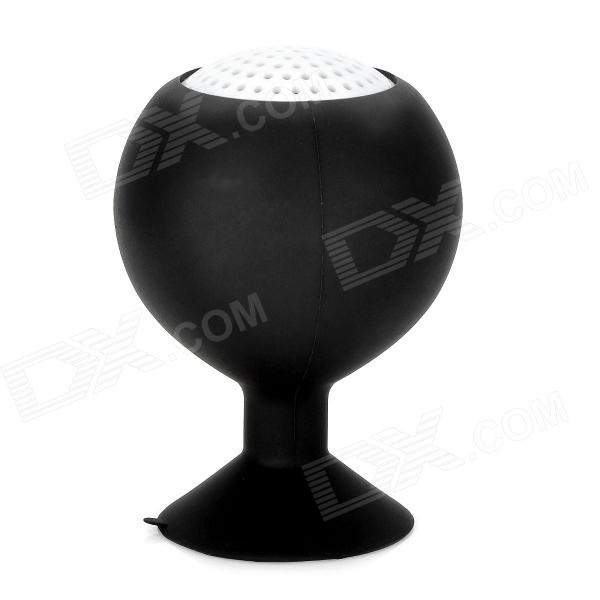 Portable Rechargeable 2-Channel Speaker w/ Suction Cup - Black + White portable rechargeable 2 channel speaker w suction cup black white