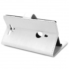Protective Flip-open PU Leather Case w/ Holder / Card slots for Nokia Lumia 925 - White