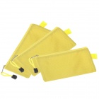 Water-proof Football Texture Zipper Style B6 Document File Pocket  - Yellow (3 pcs)