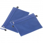 Reicnlbation Double-deck Zipper Style A5 Canvas Document File Pocket - Blue (2 pcs)