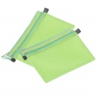 Reicnlbation Double-deck Zipper Style A5 Canvas Document Bag - Fluorescent Green (2 pcs)