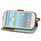 Protective PU Leather Case Cover Stand for Samsung Galaxy S3 i9300 - White + Blue + Black + Brown