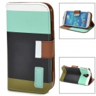 Protective Strip PU Leather Flip Case w/ Card Slots for Samsung i9500 - Blue + Black + Brown