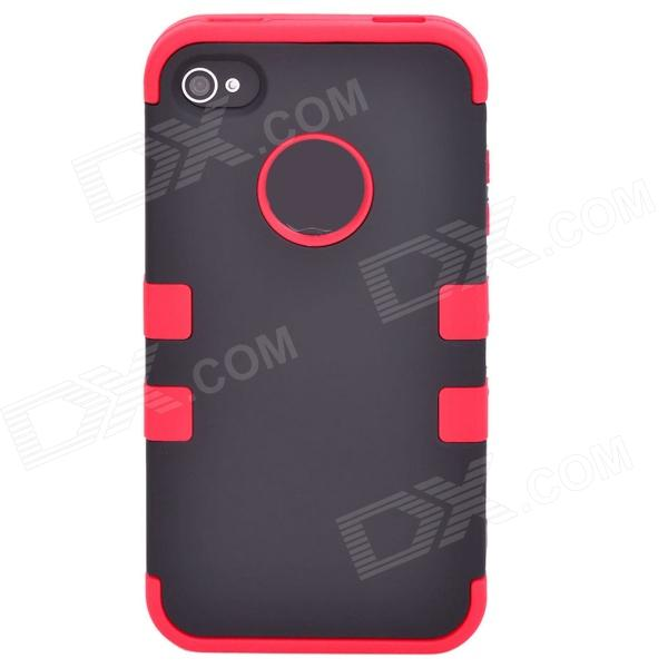 Silicona desmontable Durable + caja de la PC para Iphone 4 / 4S - Negro + Rojo