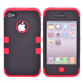 Durable Detachable Silicone + PC Case for Iphone 4 / 4S - Black + Red