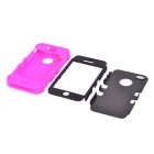Durable Detachable Silicone + PC Case for Iphone 4 / 4S - Black + Deep Pink