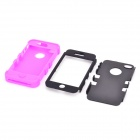 Durable Detachable Silicone + PC Case for Iphone 4 / 4S - Black + Purple