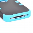 Durable Detachable Silicone + PC Case for Iphone 4 / 4S - Black + Blue