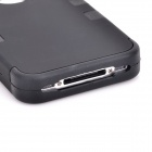 Silicona desmontable Durable + caja de la PC para Iphone 4 / 4S - Negro