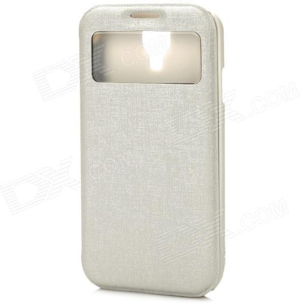 70017 Protective PU Case w/ Display Window / Card Slot for Samsung S4 - Beige