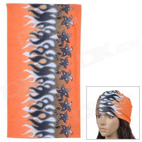 Acacia 6032503 Outdoor Cycling Seamless Polyester Head Scarf - Orange + Black