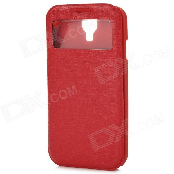 70018 Protective PU Case w/ Display Window / Card Slot for Samsung S4 - Black