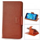 Protective PU Leather Case Cover w/ Suction Cup / Card Slots for Samsung Galaxy S4 i9500 - Brown
