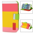Protective Strip PU Leather Flip Case w/ Card Slots for Samsung i9300 - Deep Pink + Yellow + Pink