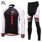 INBIKE Outdoor Cycling Polyester + Spandex Jacket + Pants for Men - White + Black (XL)