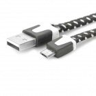 Micro USB Male to USB Male Data Charging Nylon Cable for Samsung / HTC - Black + White (100cm)