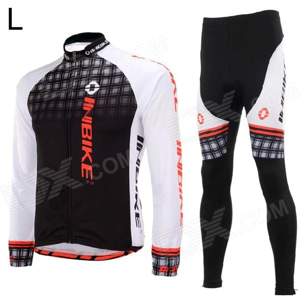 Фото INBIKE Outdoor Cycling Polyester + Spandex Jacket + Pants for Men - White + Black