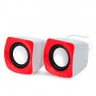 HYUNDAI HY-58T Portable 6W Stereo Speaker w/ USB - Red + White + Black (2 PCS)