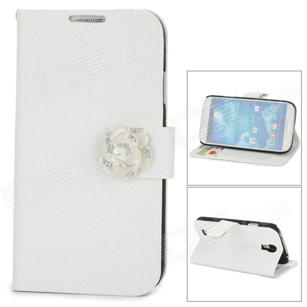 Silk Pattern Protective Plastic Back Case PU Leather Cover Stand for Samsung Galaxy S4 i9500 - White protective cute spots pattern back case for samsung galaxy s4 i9500 multicolored