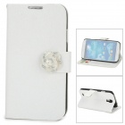 Silk Pattern Protective Plastic Back Case PU Leather Cover Stand for Samsung Galaxy S4 i9500 - White
