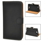 Protective Flip-open PU Leather Case w/ Holder / Card Slot for Samsung N7100 - Black