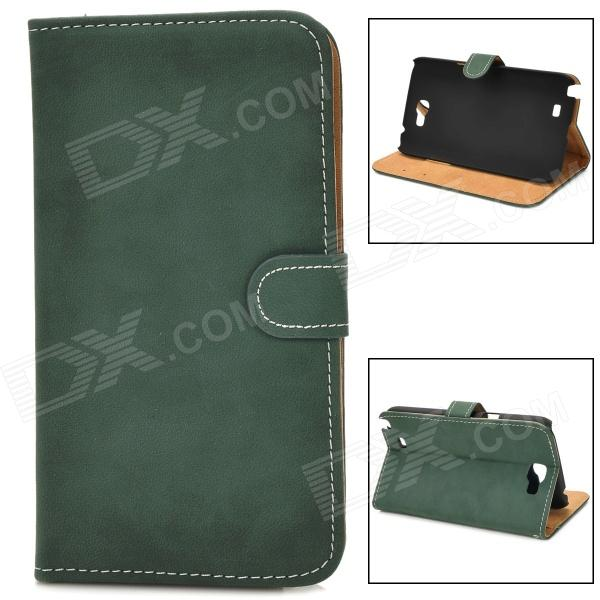 Protective Flip-open PU Leather Case w/ Holder / Card Slot for Samsung N7100 - Deep Green promate akton s5 чехол накладка для samsung galaxy s5 black