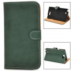 Protective Flip-open PU Leather Case w/ Holder / Card Slot for Samsung N7100 - Deep Green