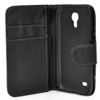 Protective Flip-open PU Leather Case w/ Holder / Card Slots for Samsung Galaxy S4 Mini i9190 - Black