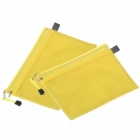 Reicnlbation Double-deck Zipper Style A5 Canvas Document Bag - Yellow (2 pcs)