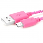 USB to Micro USB Sync Data Woven Cable for Cell Phone - Deep Pink + Black (100cm)