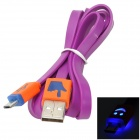 USB to Micro USB Data/Charging Cable w/ Smiley Face Light for Samsung / HTC - Purple + Orange