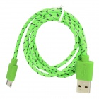 USB Male to Micro USB Male Braided Charging Cable for Samsung, HTC - Green (100cm)