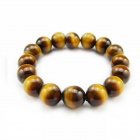 eQute BGEM50S12 Men's Genuine Tiger Eye Stone Bracelet - Brown + Yellow (12mm)