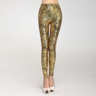 LC79206-2 Stylish Women's Metallic Scale Veins Leggings - Golden (Free Size)