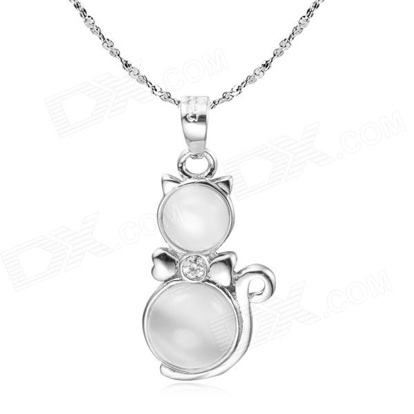 eQute PSIW4C1 925 Sterling Silver Necklace w/ Opal Fortune Car Pendant Chain - White + Silver (45) maje мюлес и сабо