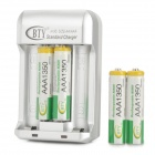 "BTY BTY-809A ""1350mAh"" AAA Batteries + US Plug Charger - Silver + Grey"