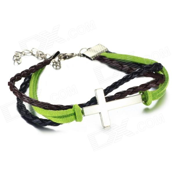 Фото eQute BLEW2C8 PU Leather Bracelet with Cross + Leather String - Green + Black + Silver