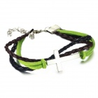 eQute BLEW2C8 PU Leather Bracelet with Cross + Leather String - Green + Black + Silver
