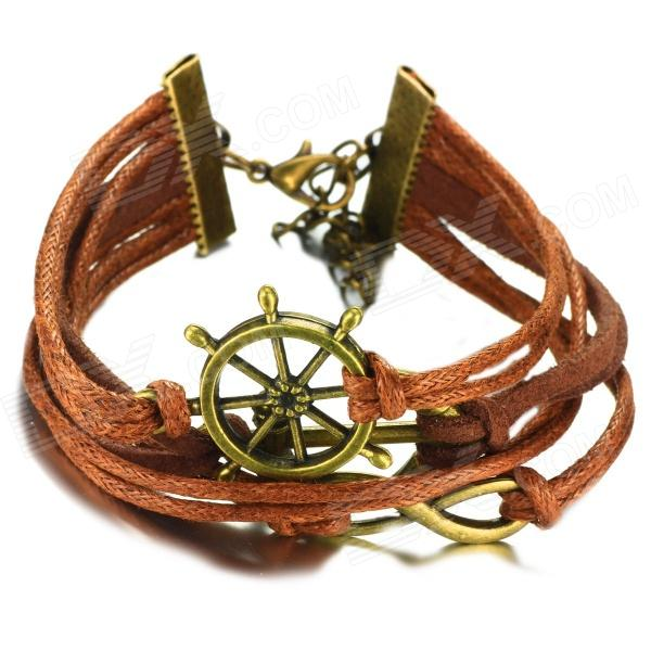 eQute BLEW1C99 Steering Wheel Ship Anchor Infinity Braided String Bracelet - Brown + Bronze equte blew1c99 steering wheel ship anchor infinity braided string bracelet brown bronze