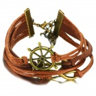 eQute BLEW1C99 Steering Wheel Ship Anchor Infinity Braided String Bracelet - Brown + Bronze