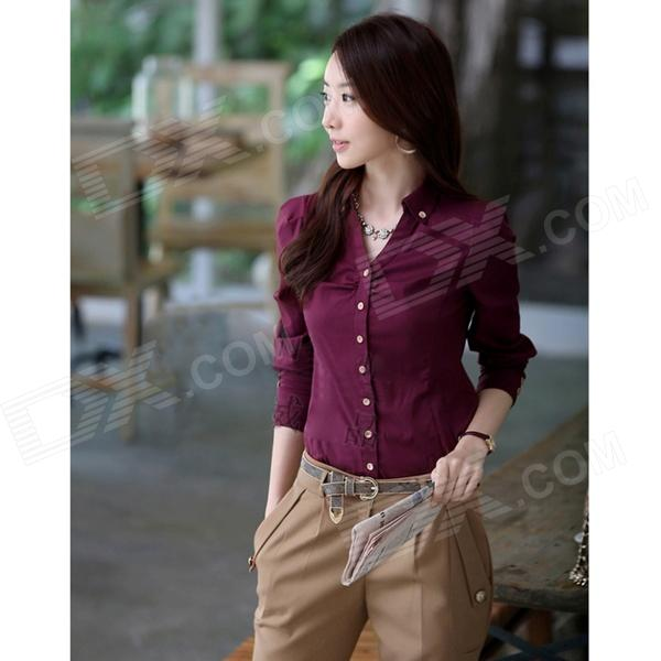 OLCS-01 Women's Long-Sleeved Blouse OL Shirt - Red Wine (XL)