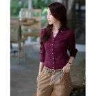 Women's Long-Sleeved Blouse OL Shirt - Red Wine (XL)